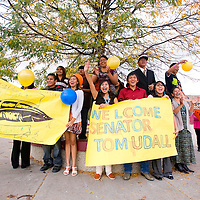 101112       Brian Leddy<br /> Tohatchi High School students greet Sen. Tom Udall as he arrives at the school Thursday. Udall was on hand to learn about the schools technical-vocational programs and it's Navajo Language and Culture programs.