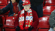 Liverpool female fan before the English Premier League match at Anfield Stadium, Liverpool. Picture date: December 31st, 2016. Photo credit should read: Lynne Cameron/Sportimage
