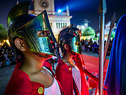 30 MARCH 2018 - BANGKOK, THAILAND: Thais dressed as Roman soldiers watch the crucifixion during Good Friday observances at Santa Cruz Church in the Thonburi section of Bangkok. Santa Cruz Church is more than 350 years old and is one of the oldest Catholic churches in Thailand. Good Friday is the day that most Christians observe as the crucifixion of Jesus Christ. Thailand has a small Catholic community.        PHOTO BY JACK KURTZ