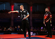 Michael Smith during the World Matchplay Darts 2019 at Winter Gardens, Blackpool, United Kingdom on 23 July 2019.