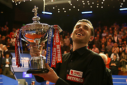 Mark Selby celebrates winning the Betfred Snooker World Championship with his daughter Sofia Maria and wife Vikki Layton on day seventeen of the Betfred Snooker World Championships at the Crucible Theatre, Sheffield. PRESS ASSOCIATION Photo. Picture date: Monday May 1, 2017. See PA story SNOOKER World. Photo credit should read: Steven Paston/PA Wire