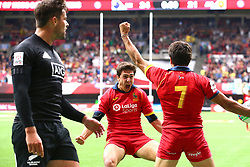 March 9, 2019 - Vancouver, BC, U.S. - VANCOUVER, BC - MARCH 09:  Alejandro Alonso (12) of Spain celebrates with teammate Pol Pla (7) after defeating New Zealand 26-24 during day 1 of the 2019 Canada Sevens Rugby Tournament on March 9, 2019 at BC Place in Vancouver, British Columbia, Canada. (Photo by Devin Manky/Icon Sportswire) (Credit Image: © Devin Manky/Icon SMI via ZUMA Press)