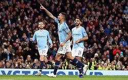 Manchester City's Gabriel Jesus (centre) celebrates scoring his side's fourth goal of the game from the penalty spot during the UEFA Champions League match at the Etihad Stadium, Manchester.