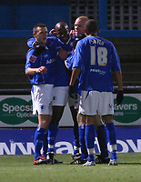 Photo: Dave Linney.<br />Chesterfield v Swindon Town. Coca Cola League 1.<br />28/12/2005.Paul Hall(Second from left) celebrates his goal for Chesterfield.