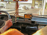 Interior of a Taxi. Cityscape of Old Town Cairo, Egypt