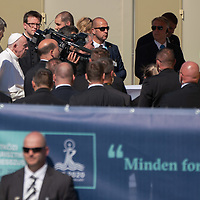 Pope Francis leaves after he celebrated mass for the closing of the International Eucharistic Congress held on Heroes Square in Budapest, Hungary on Sept. 12, 2021. ATTILA VOLGYI