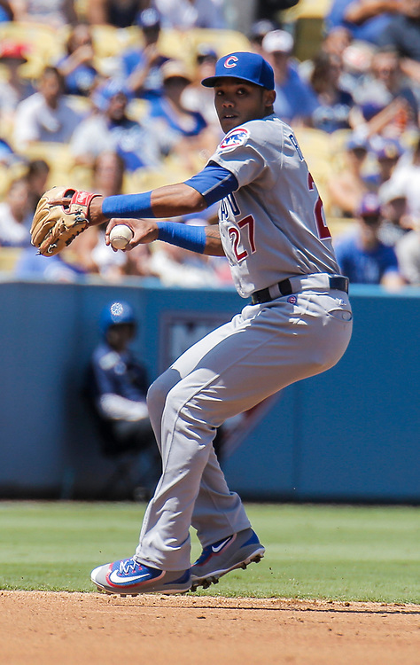 Aug 28 2016 - Los Angeles U.S. CA - Chicago Cubs SS # 27 Addison Russell make a infield play by throwing the runner out on first during MLB game between LA Dodgers and the Chicago Cubs 1-0 lost at Dodgers Stadium Los Angeles Calif. Thurman James / CSM
