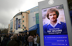 Tributes held outside the ground prior to kick-off during the Premier League match at Stamford Bridge, London.