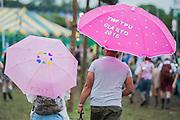 Ready for rain or sun - The 2016 Glastonbury Festival, Worthy Farm, Glastonbury.
