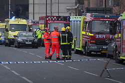 © licensed to London News Pictures. London, UK 16/01/2013. Fire brigades and emergency services attending to a reported helicopter crash in Vauxhall, London. Photo credit: Tolga Akmen/LNP