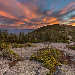 Sunset on the Appalachian Trail on Saddleback Mountain in Maine's High Peaks Region.