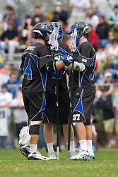 15 March 2008: Duke Blue Devils men's lacrosse defenseman Tony McDevitt (44), defenseman Parker McKee (35) and defenseman Mike Manley (37) in a 19-9 win over the North Carolina Tar Heels at Koskinen Stadium in Durham, NC.