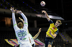 Jonathan Carlsbogard of Sweden in action during handball match between National Teams of Sweden and Slovenia at Day 3 of IHF Men's Tokyo Olympic  Qualification tournament, on March 14, 2021 in Max-Schmeling-Halle, Berlin, Germany. Photo by Vid Ponikvar / Sportida