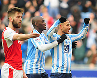 Coventry City's Marcus Tudgay, right, celebrates scoring his sides goal with Coventry City's Marc-Antoine Fortune, left<br /> <br /> Photographer Andrew Vaughan/CameraSport<br /> <br /> Football - The Football League Sky Bet League One - Coventry City v Fleetwood Town - Saturday 27th February 2016 - Ricoh Stadium - Coventry   <br /> <br /> © CameraSport - 43 Linden Ave. Countesthorpe. Leicester. England. LE8 5PG - Tel: +44 (0) 116 277 4147 - admin@camerasport.com - www.camerasport.com
