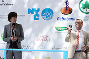 l to r: Ambassador of the Kingdom of The Netherlands in the USA: HE Mrs Renée Jones-Bos and NYC PArks & Recreation Commissioner Andrian Benepe at opening for The NY400 Holland on the Hudson celebrating the values, history and a vision of the future of The Unied States and The Netherlands and held at Bowling Green Park on Septemeber 4, 2009 in New York City