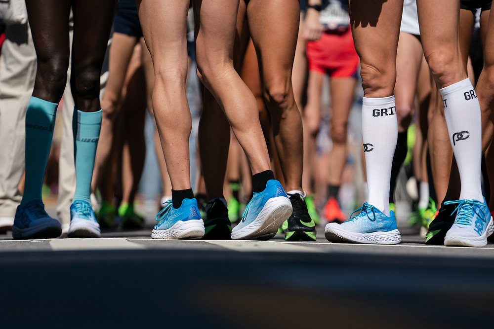 The field of women's runners prepare to start the 2020 U.S. Olympic marathon trials in Atlanta on Saturday, Feb. 20, 2020. Photo by Kevin D. Liles for The New York Times