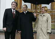 Moscow, Russia, 09/05/2005..Russian President Vladimir Putin and wife Ludmilla greet Ukrainian President Viktor Yushchenko at the Kremlin before the parade in Red Sqaure marking the 60th anniversary of victory in the Great Patriotic War.