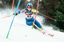 """Nina O Brien (USA) competes during 1st Run of FIS Alpine Ski World Cup 2017/18 Ladies' Slalom race named """"Snow Queen Trophy 2018"""", on January 3, 2018 in Course Crveni Spust at Sljeme hill, Zagreb, Croatia. Photo by Vid Ponikvar / Sportida"""