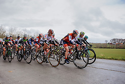 Peloton approach the first climb of the day into Nokere - Dwars door Vlaanderen 2016, a 103km road race from Tielt to Waregem, on March 23rd, 2016 in Flanders, Netherlands.