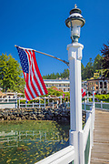 Roche Harbor is a sheltered harbor on the northwest side of San Juan Island in San Juan County, Washington, United States, and the site of a resort of the same name. Roche Harbor sits along Haro Strait and Canada – United States border. The harbor itself provides one of the better protected anchorages in the islands. The harbor is surrounded on the east side by San Juan Island, on the north side by Pearl Island, and on the west and south sides by Henry Island. Most of the harbor is 35 to 45 feet (11 to 14 meters) deep. Roche Harbor has a small airport used primarily by local residents.