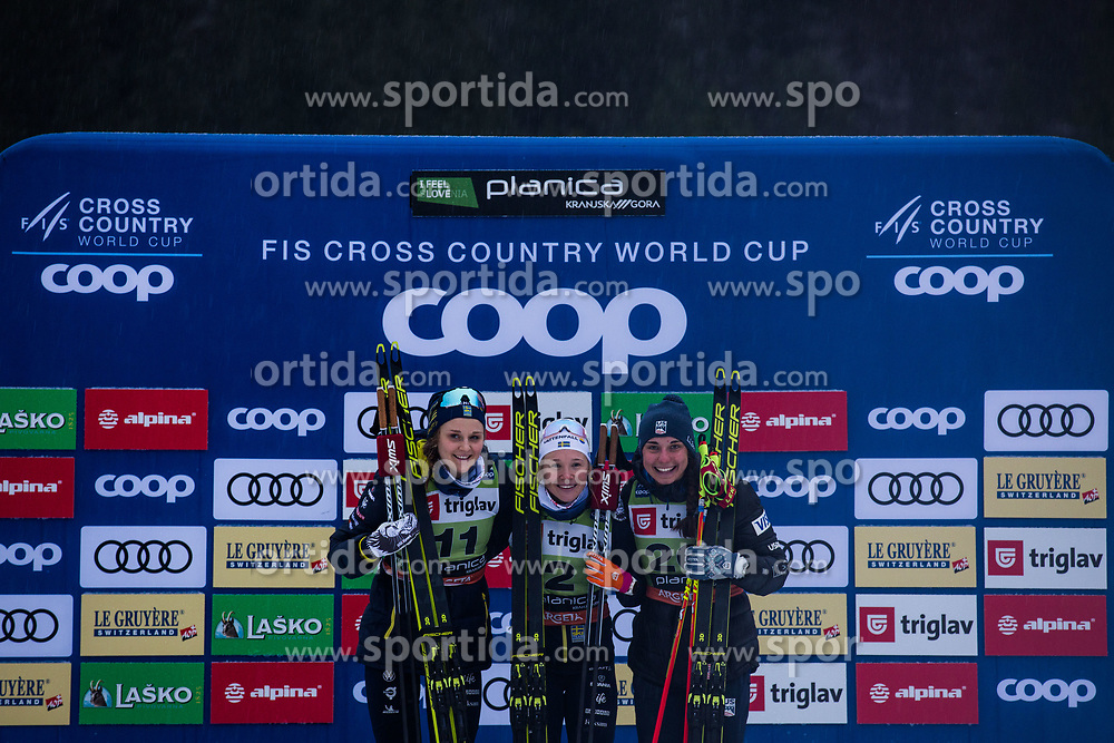 NILLSON Stina (SWE), KERN Julia (USA), SUNDLING Jonna (SWE celebrating after the Ladies sprint free race at FIS Cross Country World Cup Planica 2019, on December 21, 2019 at Planica, Slovenia. Photo By Peter Podobnik / Sportida
