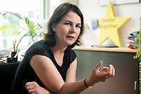 02 JUL 2019, BERLIN/GERMANY:<br /> Annalena Baerbock, MdB, B90/Gruene, Parteivorsitzende, waehrend einem Interview, in ihrem Buero, Jakob-Kaiser-Haus, Deutscher Bundestag<br /> IMAGE: 20190702-01-014
