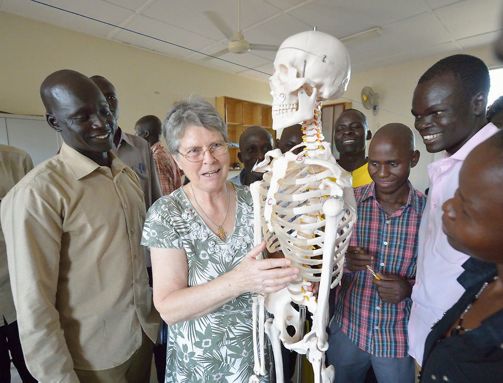 Sister Nora McCarthy teaches anatomy to students during a class at the Catholic Health Training Institute (CHTI) in Wau, South Sudan. Run by Solidarity with South Sudan, an international network of Catholic organizations supporting the development of the world's newest country, the CHTI trains nurses and midwives from throughout the country. McCarthy, who is Irish and a lecturer at the CHTI, is a member of the Sisters of Saint Francis of Philadelphia.