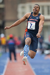 April 27, 2018 - Philadelphia, Pennsylvania, U.S - LLOYD HYLTON (7) from Morgan State competes in the Long Jump Championships during the meet held in Franklin Field in Philadelphia, Pennsylvania. (Credit Image: © Amy Sanderson via ZUMA Wire)