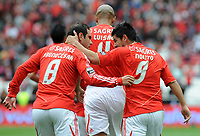 20120421: LISBON, PORTUGAL - Portuguese Liga Zon Sagres 2011/2012 - SL Benfica VS Maritimo<br /> In picture: Benfica's Nolito, from Spain, right, celebrates with teammate Bruno Cesar, from Brazil, after scoring the opening goal against Maritimo.<br /> PHOTO: Alvaro Isidoro/CITYFILES
