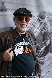 Willie G. Davidson in his 75th anniversary design T-shirt at the Harley-Davidson footprint at Daytona International Speedway during the Daytona Bike Week 75th Anniversary event. FL, USA. Saturday March 5, 2016.  Photography ©2016 Michael Lichter.