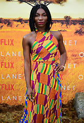 Michaela Coel attending the global premiere of Netflix's Our Planet, held at the Natural History Museum, London.