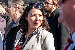 Pictured: Monica Lennon, MSP<br /><br />Richard Leonard, leader of Scottish labour, Patrick Harvie, co-leader of the Scotrtish Greens, joined other MSPs and memberes of the RMT union today to protest against Abellio contract. The rail union were demonstrating outside the Scottish Parliament in a call for the termination of privateer Abellio ScotRail's contract.<br /><br />Ger Harley | EEm 2 October 2019
