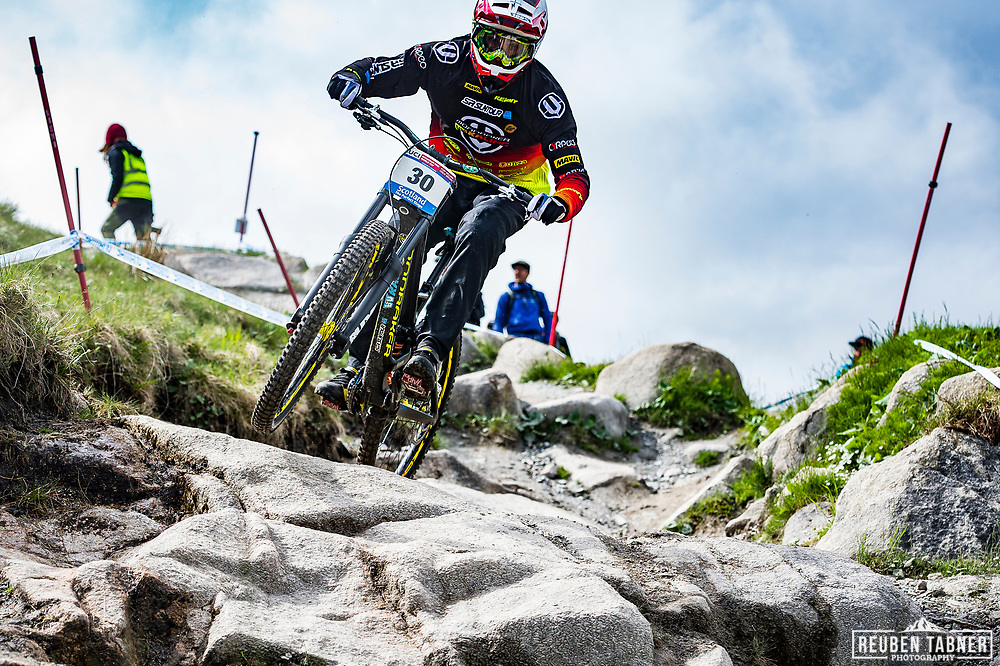 Baptiste Pierron during Sunday practise at the UCI Mountain Bike World Cup in Fort William.