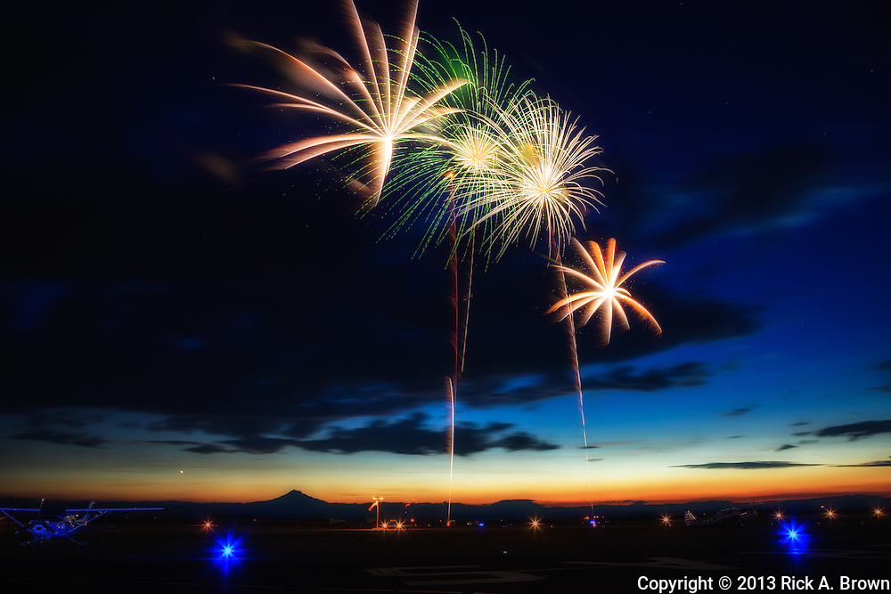 Fireworks at the Airshow of the Cascades, digital composite.