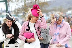 Fiona Johnson (centre) wife of Jockey Richard Johnson arrives for Ladies Day of the 2018 Cheltenham Festival at Cheltenham Racecourse.