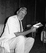 """John Huston Arrives In Dublin.   (J74)..1975..13.09.1975..09.13.1975..13th September 1975..The renowned film director,John Huston arrived in Dublin today. He had just flown in from Mexico to take part in """"Circasia 75"""" at Straffan House,Co Kildare.He is to take the part of ringmaster at the event...Image of John Huston relaxing in the V.I.P.lounge at Dublin Airport."""