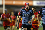Seb Davies of Cardiff Blues.  Guinness Pro14 rugby match, Cardiff Blues v Dragons at the Cardiff Arms Park in Cardiff, South Wales on Friday 6th October 2017.<br /> pic by Andrew Orchard, Andrew Orchard sports photography.