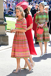 Cressida Bonas arrives at St George's Chapel at Windsor Castle for the wedding of Meghan Markle and Prince Harry.