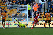 Middlesbrough midfielder Stewart Downing celebrates scoring a goal from a free kick during the Sky Bet Championship match between Wolverhampton Wanderers and Middlesbrough at Molineux, Wolverhampton, England on 24 October 2015. Photo by Alan Franklin.