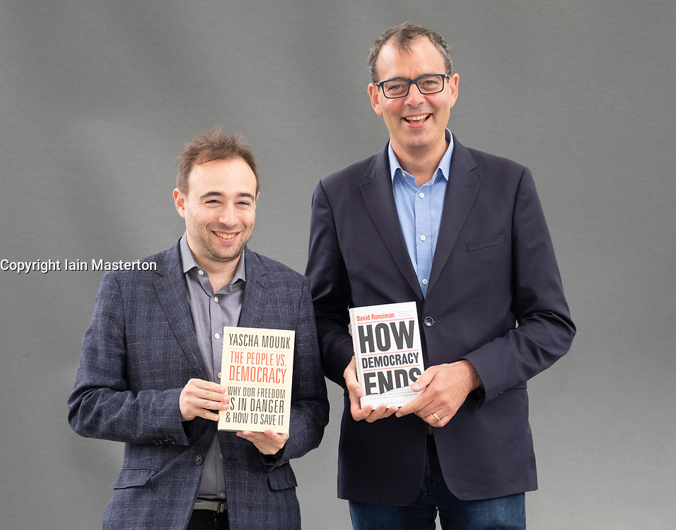 """Edinburgh, Scotland, UK; 17 August, 2018. Pictured; Yascha Mounk (L) and David Runciman whose new books   """"The People vs Democracy"""" and  """" How Democracy Ends"""" are studies of contemporary democracy."""
