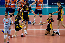 Players of Belchatow at  match for 3rd place of CEV Indesit Champions League FINAL FOUR tournament between PGE Skra Belchatow, POL and ACH Volley Bled, SLO on May 2, 2010, at Arena Atlas, Lodz, Poland.  (Photo by Vid Ponikvar / Sportida)