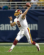 Washington Redskins quarterback Mark Brunell fires the ball down field in the first quarter against the St. Louis Rams, during the Redskins 24-9 win at the Edward Jones Dome in St. Louis, Missouri, December 4, 2005.