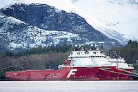 Far Searcher, Far Serenade, Far Service og Far Server fra Farstad Shipping ligger i opplag i Ålesund under oljekrisen 2016.<br /> Foto: Svein Ove Ekornesvåg