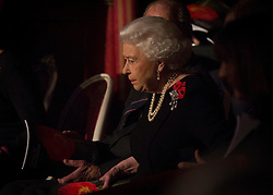 © Licensed to London News Pictures. 07/11/2015.  Royal Albert Hall, London, UK.  Veterans and their families were joined by Her Majesty the Queen and members of the Royal family this evening at the annual Festival of Remembrance.  Photo credit : Alison Baskerville/LNP