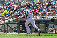 Joe Mauer #7 of the Minnesota Twins runs to 1st base against the Seattle Mariners on June 2, 2013 at Target Field in Minneapolis, Minnesota.  The Twins defeated the Mariners 10 to 0.  Photo: Ben Krause