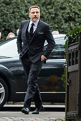 © Licensed to London News Pictures. 18/04/2016. Shirley, UK.  David Walliams arrives for the funeral of comedian, actor, writer Ronnie Corbett, held at St John the Evangelist Church in Shirley near Croydon. Corbett, who was most famous for his comedy sketch show  The Two Ronnies, performed with the late Ronnie Barker, died at the age of 85. Photo credit: Ben Cawthra/LNP