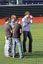 11 July 2012:  Brushfire Band prepares to sing the Star Spangled Banner during the Frontier League All Star Baseball game at Corn Crib Stadium on the campus of Heartland Community College in Normal Illinois