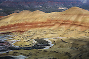 Painted Hills Unit, Overlook Trail, John Day Fossil Beds National Monument, Oregon, USA. John Day Fossil Beds preserves layers of fossil plants and mammals that lived between the late Eocene, about 45 million years ago, and the late Miocene, about 5 million years ago.