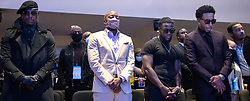 Tyrese Gibson, Will Packer, Kevin Hart, Ludacris and T.I. during a memorial service for George Floyd at North Central University in Minneapolis on Wenesday, June 4, 2020. Photo by Carlos Gonzalez/Minneapolis Star Tribune/TNS/ABACAPRESS.COM