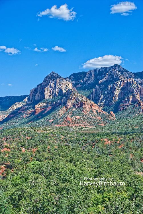 Sedona, USA, Arizona. Moody Red mountain formations. Blue Sky's.